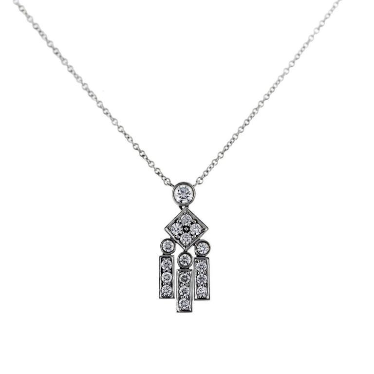 Tiffany & Co. Platinum Legacy Diamond Dangle Pendant Necklace 3
