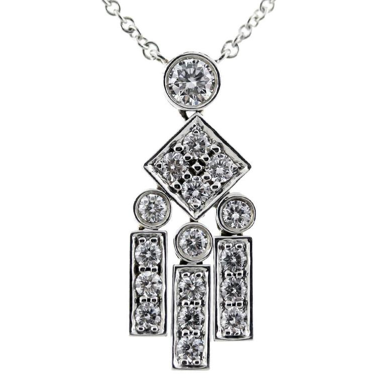 Tiffany & Co. Platinum Legacy Diamond Dangle Pendant Necklace