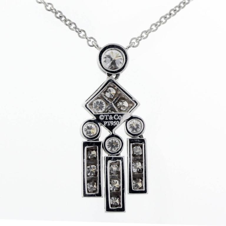 Tiffany & Co. Platinum Legacy Diamond Dangle Pendant Necklace 4