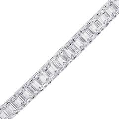36.03 Carat Emerald Cut Diamond Platinum Tennis Bracelet