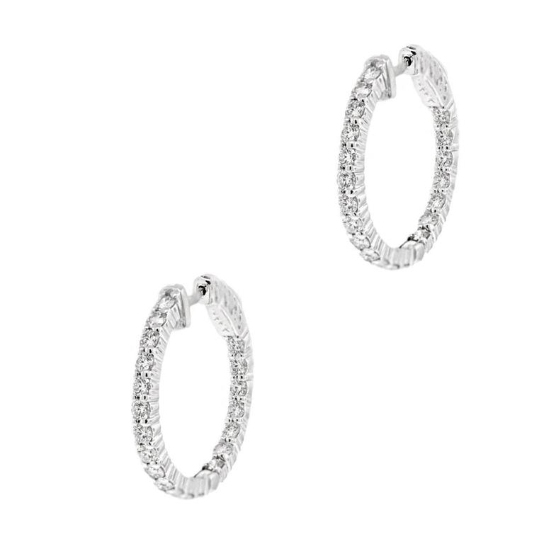 1.70 Carat Diamond White Gold Inside Out Hoop Earrings 2