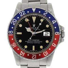 Rolex Stainless Steel Pepsi Bezel GMT Master Automatic Wristwatch