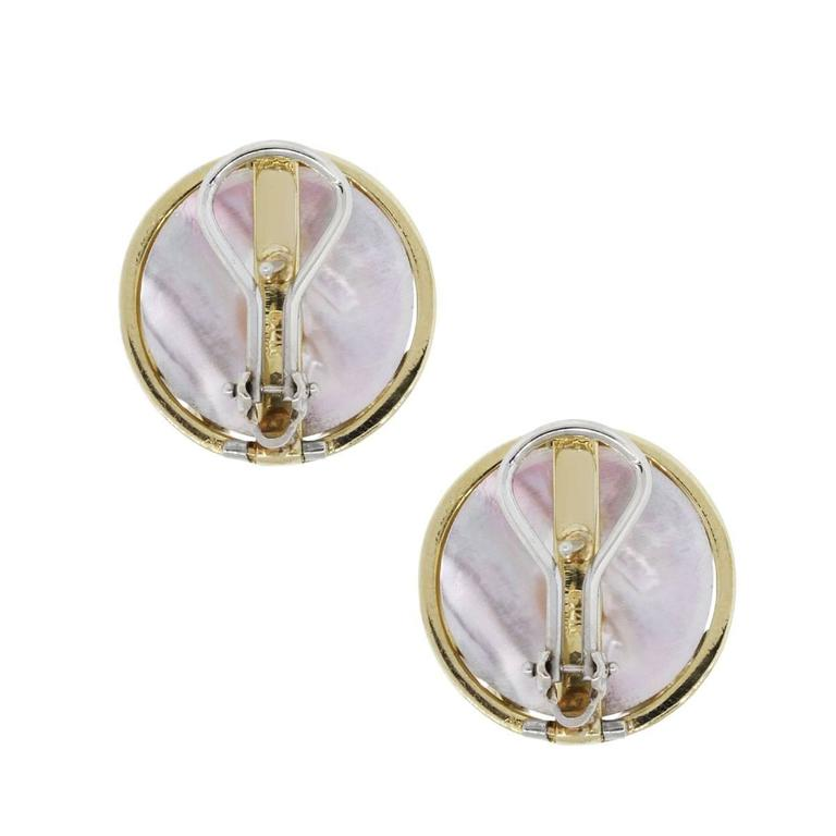 Yellow Gold Pearl Diamond Button Earrings In Excellent Condition For Sale In Boca Raton, FL