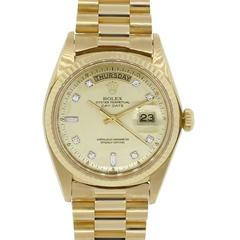 Rolex Yellow Gold Diamond Day-Date Presidential Diamond Dial Automatic Watch