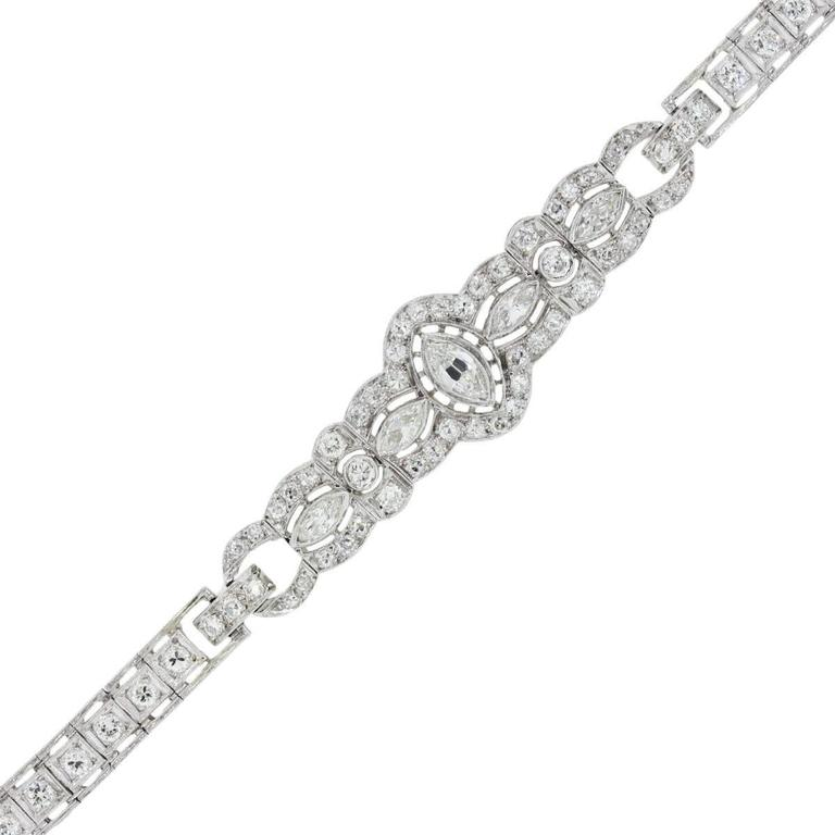 Platinum 3.5 Carat Marquise and Round Diamond Vintage Bracelet