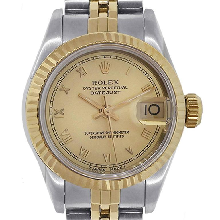 Rolex Ladies Yellow Gold Stainless Steel Datejust Roman Dial Automatic Watch