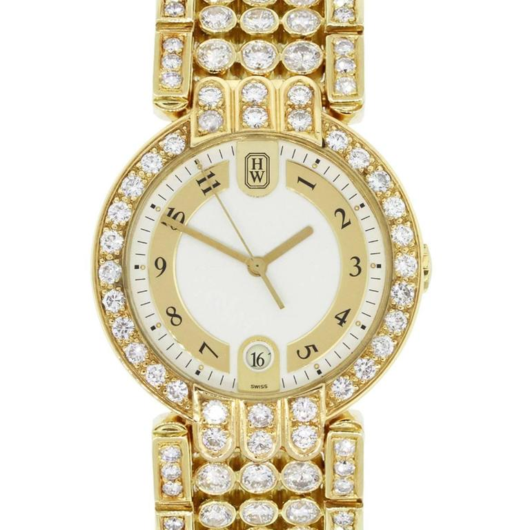 Harry Winston Yellow Gold Diamond Premier Quartz Wristwatch For Sale