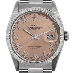 Rolex Stainless Steel Datejust  Salmon Dial Automatic Wristwatch Ref 16234