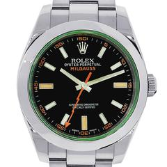 Rolex Stainless Steel Milgauss Black Dial Automatic Wristwatch Ref 116400V