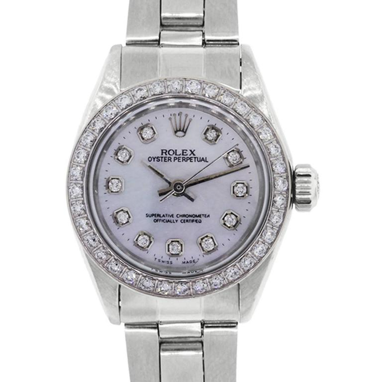 Rolex Ladies Stainless Steel Mother-of-Pearl Diamond Dial Automatic Wristwatch 1