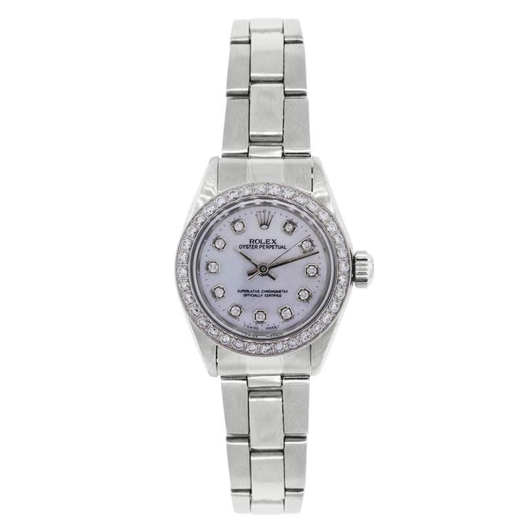 Rolex Ladies Stainless Steel Mother-of-Pearl Diamond Dial Automatic Wristwatch 2