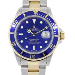 Rolex Yellow Gold Stainless Steel Submariner Blue Dial and Bezel Wristwatch