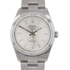 Rolex Stainless Steel 14000 Airking Silvered Dial Automatic Wristwatch