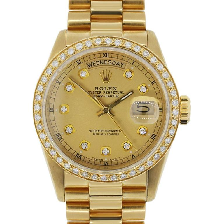 Rolex Yellow Gold Diamond Dial Presidential Day-Date Automatic Wristwatch For Sale
