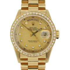 Rolex Yellow Gold Diamond Dial Presidential Day-Date Automatic Wristwatch