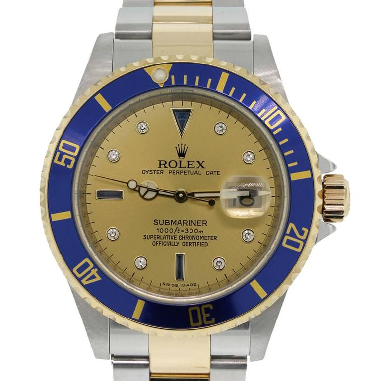 Rolex Yellow Gold Stainless Steel Submariner Serti Dial Automatic Wristwatch For Sale