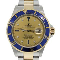 Rolex Yellow Gold Stainless Steel Submariner Serti Dial Automatic Wristwatch