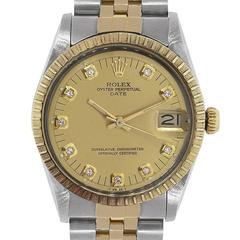 Rolex Yellow Gold Stainless Steel Date Diamond Dial Automatic Wristwatch