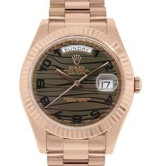 Rolex Rose Gold Bronze Wave Dial Day Date II  Wristwatch