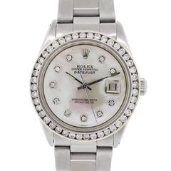 Rolex Stainless Steel Diamond Datejust Mother-of-Pearl Automatic Wristwatch