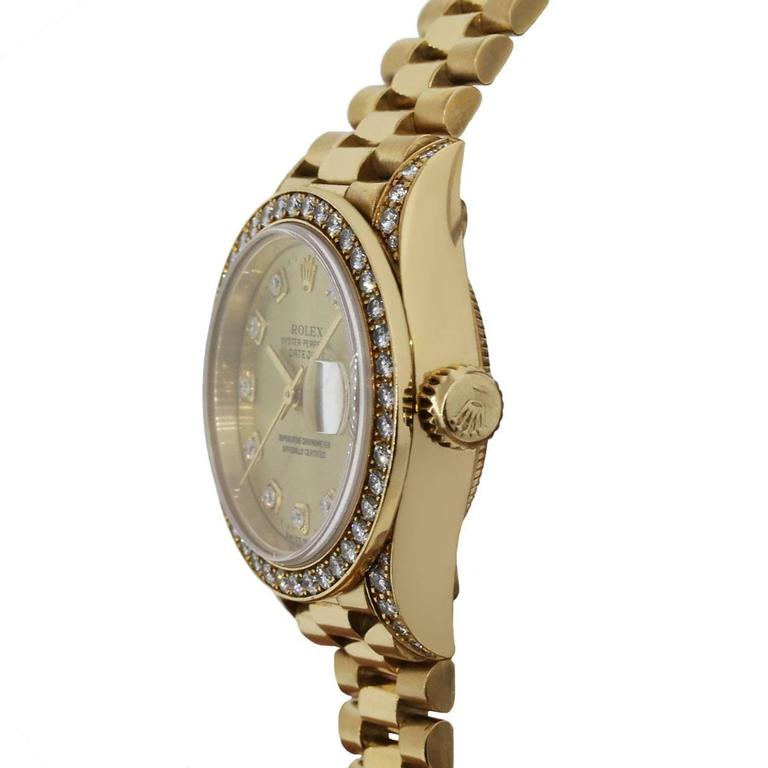 Rolex Ladies Yellow Gold Diamond Datejust Presidential Automatic Wristwatch In As New Condition For Sale In Boca Raton, FL