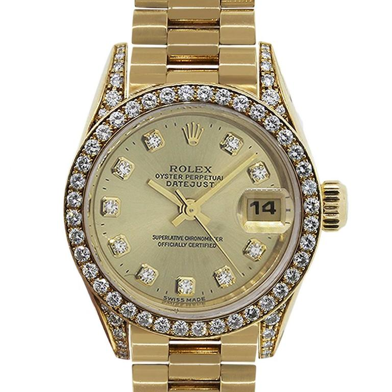 Rolex Ladies Yellow Gold Diamond Datejust Presidential Automatic Wristwatch For Sale