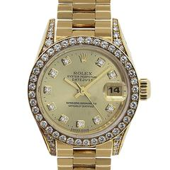 Rolex Ladies Yellow Gold Diamond Datejust Presidential Automatic Wristwatch