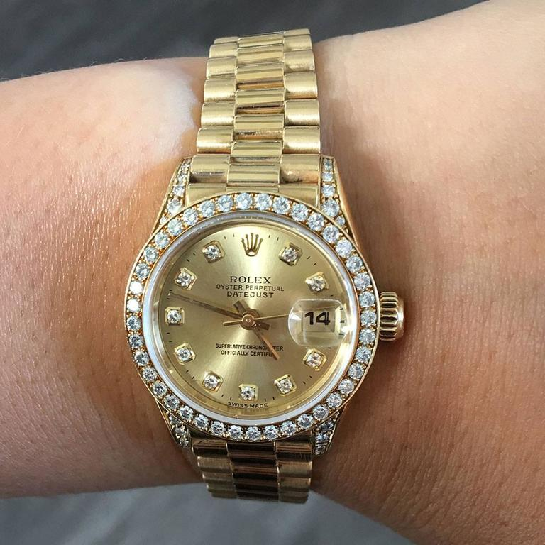 Rolex Ladies Yellow Gold Diamond Datejust Presidential Automatic Wristwatch For Sale 3
