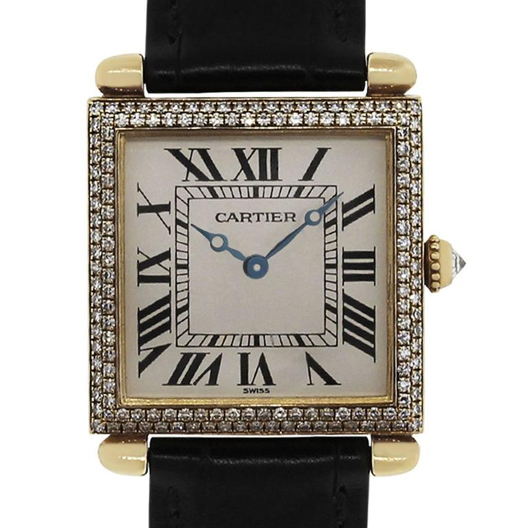 Cartier Yellow Gold Diamond Tank Obus 1630 Quartz Wristwatch