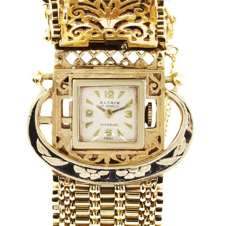 Altair Ladies Yellow Gold Bracelet Mechanical Wristwatch