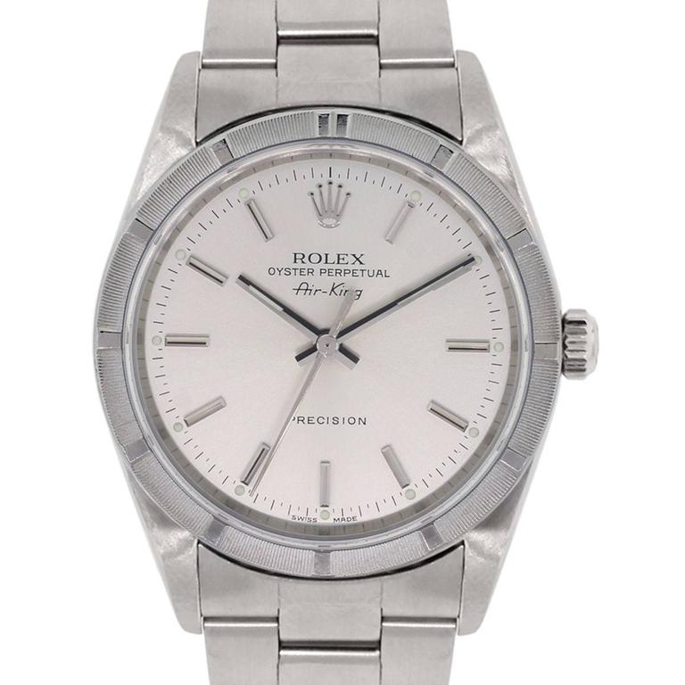 Rolex Stainless steel Air King Silvered Dial Wristwatch Ref 1410M 1