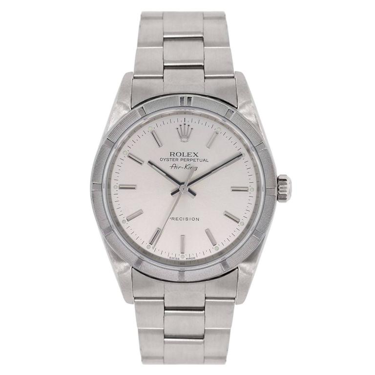 Rolex Stainless steel Air King Silvered Dial Wristwatch Ref 1410M 2