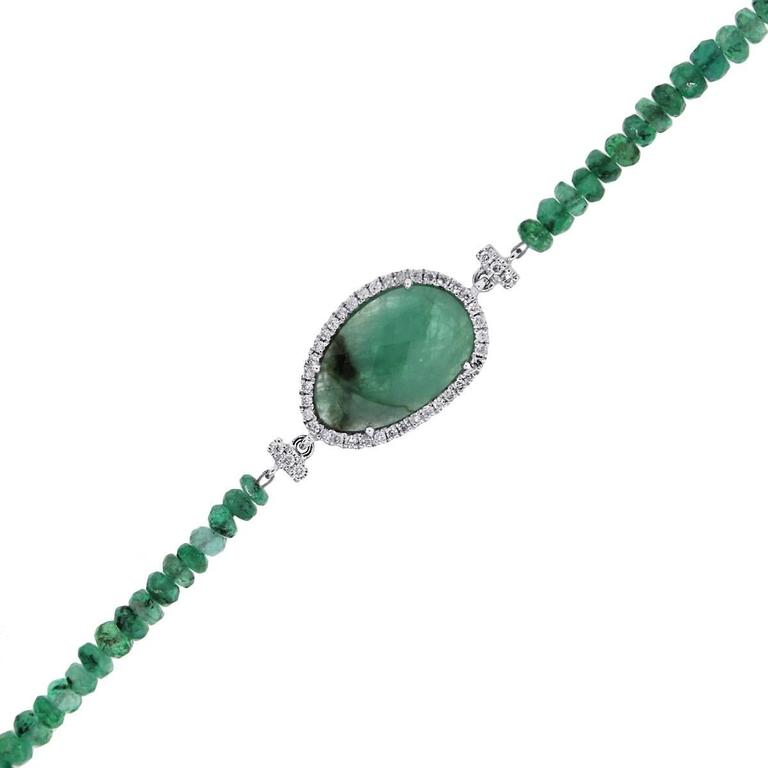 Meira T Emerald Diamond White Gold Bracelet