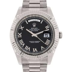 Rolex white gold Day Date II Presidential Black Roman Dial Wristwatch
