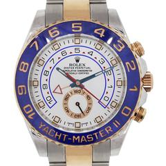 Rolex Rose Gold Stainless Steel White Dial Yacht Master II Wristwatch