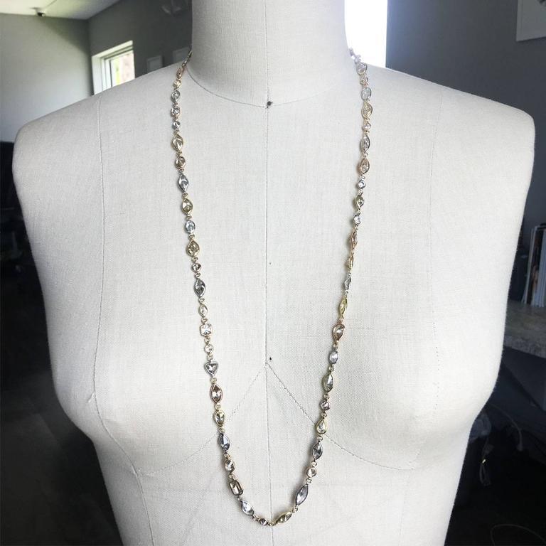 51.34 Carat Array of Diamonds Tricolor Gold Necklace 4