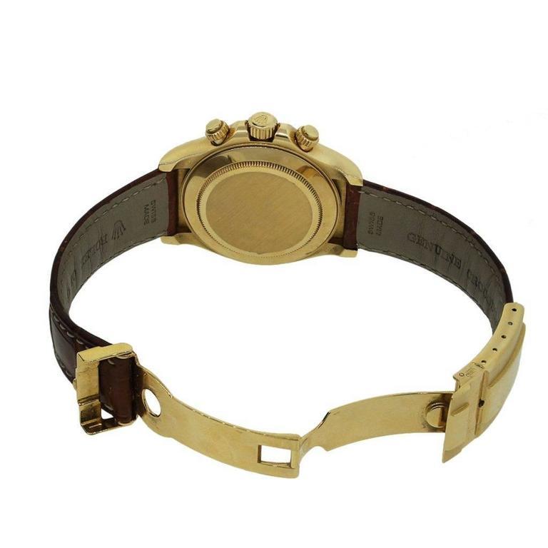 Men's Rolex Daytona Yellow Gold White Dial Wristwatch For Sale