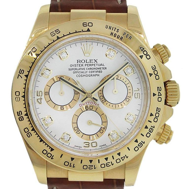 Rolex Daytona Yellow Gold White Dial Wristwatch For Sale