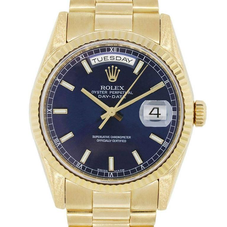 Rolex Yellow Gold Presidential Day Date Blue Dial Automatic Wristwatch For Sale