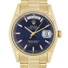 Rolex Yellow Gold Presidential Day Date Blue Dial Automatic Wristwatch