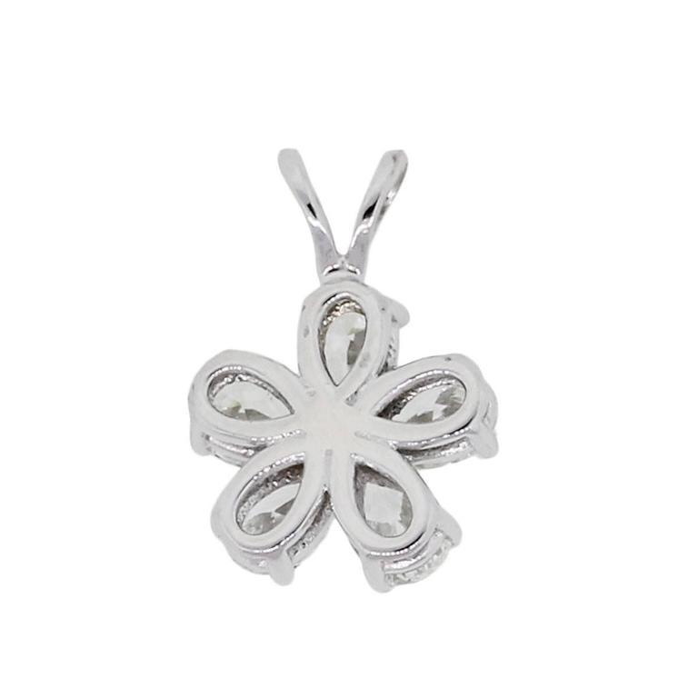 0.99 Carat Diamond White Gold Flower Pendant 3