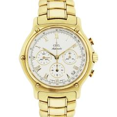 Ebel Yellow Gold Chronograph Roman Dial Automatic Wristwatch, 1911