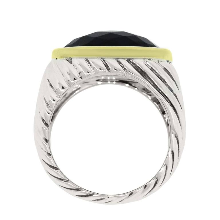 David Yurman Faceted Black Onyx Sterling Silver Yellow Gold Ring 2