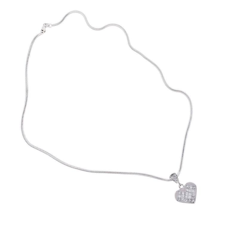 Women's Diamond White Gold Invisible Set Heart Pendant and Snake Chain For Sale