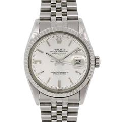 Rolex Stainless Steel Datejust Silvered Dial Jubilee Band Automatic Wristwatch