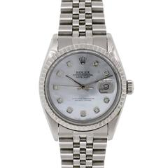Rolex Stainless Steel Datejust Diamond Dial Ref 16220 Automatic Wristwatch