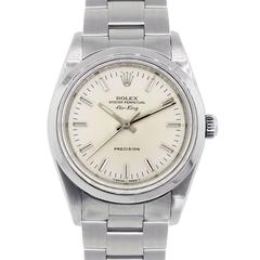 Rolex Stainless Steel 14000 Airking Silver Stick Dial Automatic Wristwatch