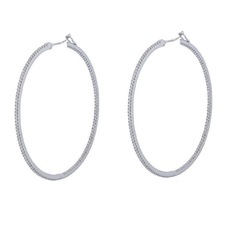 Ivanka Trump Thin Diamond Gold Hoop Earrings at 1stdibs