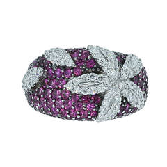 Roberto Coin Pink Sapphire Diamond Gold Ring