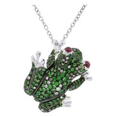 Roberto Coin Gemstone Diamond Gold Frog Pendant Necklace